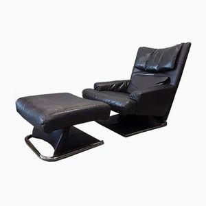 Leather Lounge Chair with Ottoman by Rolf Benz, 1980s