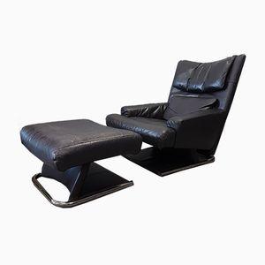 Leder Sessel mit Fußhocker von Rolf Benz, 1980er