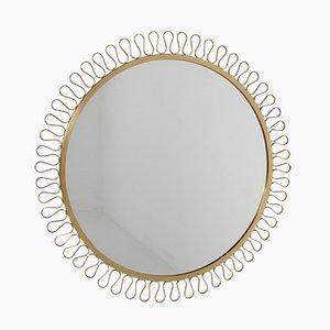 Großer Vintage Messing Spiegel