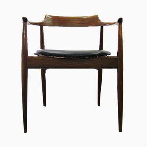 Sedia da scrivania in teak e pelle, anni '60