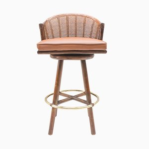 Bar Stools in Leather and Rattan by Elinor McGuire for Hans Kaufeld, 1960s, Set of 2