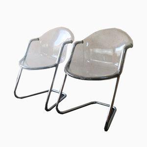 Italienische Plexiglas Chairs, 1970er, 2er Set