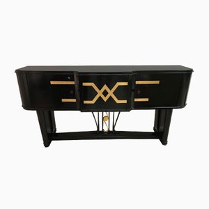 Italian Art Deco Black & Gold Sideboard, 1930s