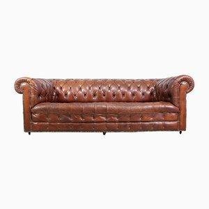 Braunes Vintage Leder Chesterfield Sofa