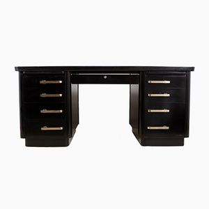 Mid-Century Piano Black Lacquer Desk