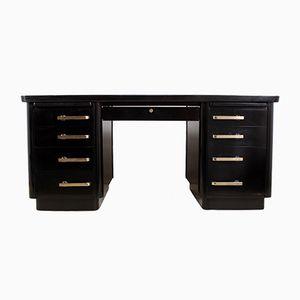 Mid-Century Piano Black Lacquer Desk