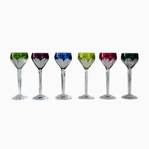 Liqueur Glasses in Partially Colored Cut Crystal, 1950s, Set of 6