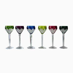 Verres de Liqueur en Cristal Taillé Partiellement Coloré, 1950s, Set de 6