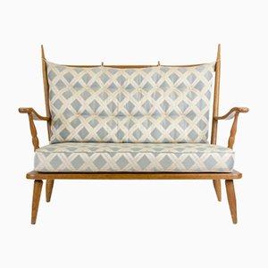 2-Seater Oak Sofa with Jacquard Fabric, 1960s