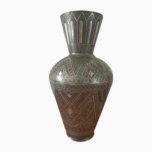 Silberne persische Vintage Vase aus Zinn