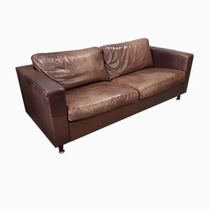 Dickes braunes 3-Sitzer Leder Sofa von Molinari, 1990er