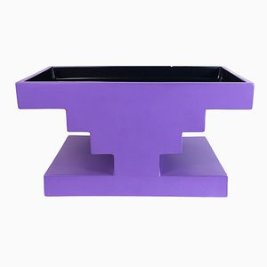 Vintage Black & Purple Ceramic Fruit Bowl by Ettore Sottsass