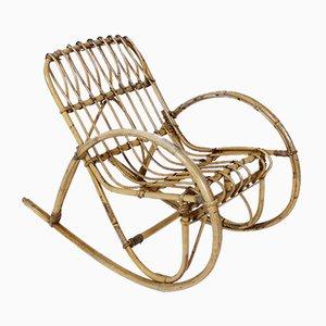 Vintage Italian Rattan Children's Rocking Chair, 1950s