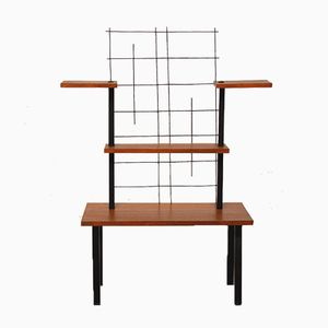 4-Shelves Metal & Teak Side Table, 1960s
