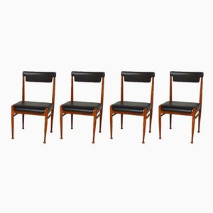 Schwarze skandinavische Skai Beistellstühle, 1960er, 4er Set
