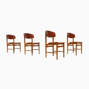 Chaises de Salon Modèle 122 en Teck et Chêne par Børge Mogensen pour Søborg, 1960s, Set de 4