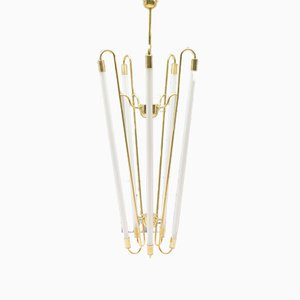 Mid-Century Brass Ceiling Lamp with Fluorescent Tubes
