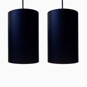 Vintage Danish Black Pendants by Eila & John Meiling for Louis Poulsen, 1970s, Set of 2