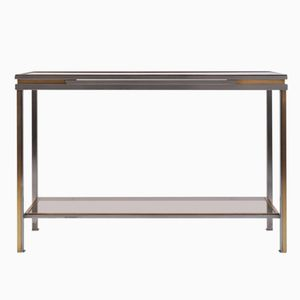 Brass, Brushed Steel & Smoked Glass Console Table, 1970s
