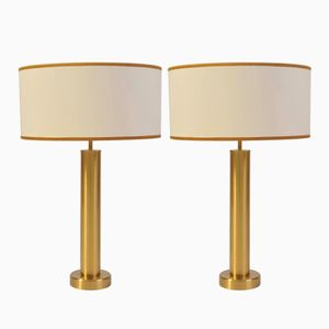 Swedish Brushed Brass Table Lamps, 1970s, Set of 2