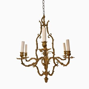 Gilded Bronze Chandelier from Maison Baguès, 1950s