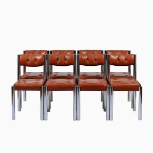 Chrome & Brown Leather Dining Chairs, 1970s, Set of 8
