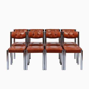 Esszimmerstühle aus Chrom & braunem Leder, 1970er, 8er Set