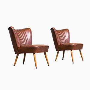 Mid-Century Cocktail Chairs in Cognac Brown Skai, Set of 2