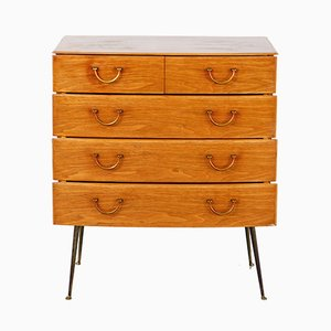 Walnut & Brass Chest of Drawers, 1940s
