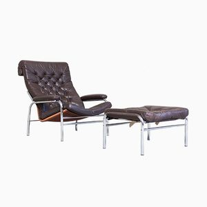 Mid-Century Bore Chair with Ottoman by Noburu Nakamure for Ikea