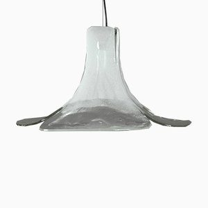 Große florale Vintage Glas Deckenlampe von Mazzega