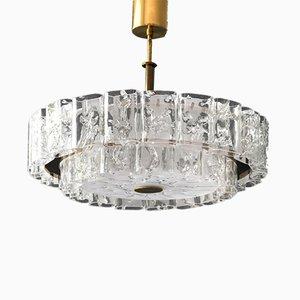Large Mid-Century Modern Crystal Glass Chandelier from Doria Leuchten