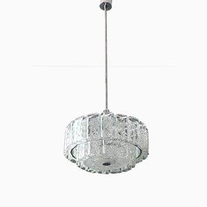 Grand Lustre Mid-Century Moderne en Verre de Cristal de Doria Leuchten