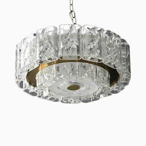 Vintage Kristallglas Kronleuchter mit Messingrahmen von Doria