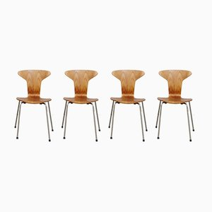 3105 Munkegaard Chairs in Teak by Arne Jacobsen for Fritz Hansen, Set of 4