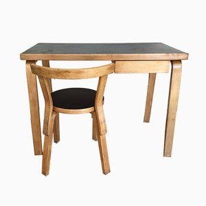 Finnish Desk and Chair by Alvar Aalto for Artek, 1950s