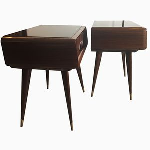 Mahogany Bedside Tables, 1950s, Set of 2