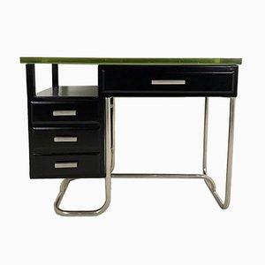 Schreibtisch aus schwarz lackiertem Metall mit dicker Glasplatte, 1930er