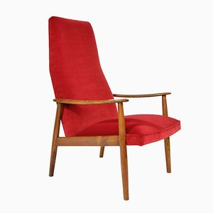 Italian Armchair in Red Velvet, 1950s