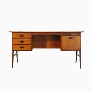 Dutch Teak Boomerang Desk by Louis Van Teeffelen for Wébé, 1950s