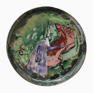 Dekorativer Steingut Teller von Yvonne Pichard, 1951