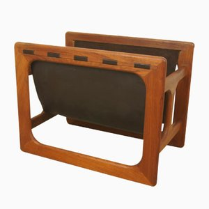 Danish Teak Magazine Rack with Two Compartments from Salin Mobler, 1960s