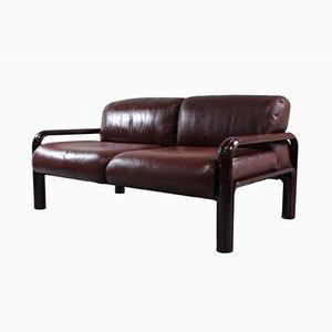 2-Sitzer Leder Sofa von Gae Aulenti für Knoll, 1970er