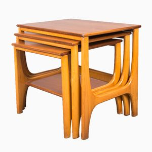Mid-Century Teak Waterfall Nesting Tables