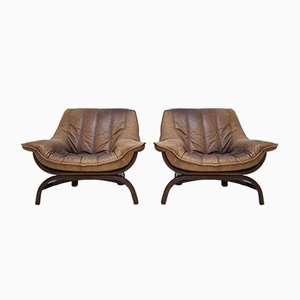 Italian Bamboo & Leather Lounge Chairs, 1970s, Set of 2