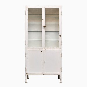 Vintage Industrial Steel & Glass Cabinet, 1930s