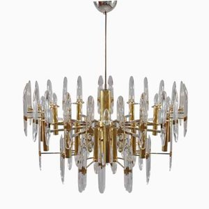 Large Crystal & Brass Chandelier by Gaetano Sciolari, 1960s
