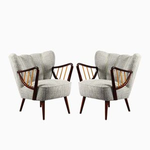 Vintage Beech & Grey Fabric Armchairs, Set of 2