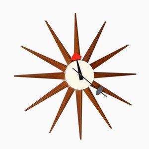Horloge Sunburst Spike par George Nelson pour Howard Miller, 1950s