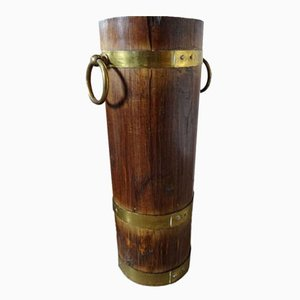 Vintage Wood & Brass Umbrella Stand